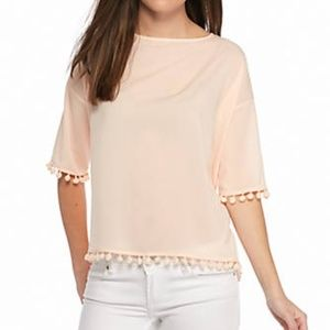French Connection Blush Pom Pom Chiffon Blouse